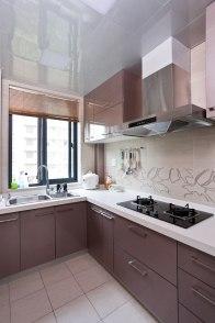 Classic kitchen in dark timber texture