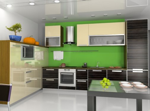 Modern kitchen with bold green accent